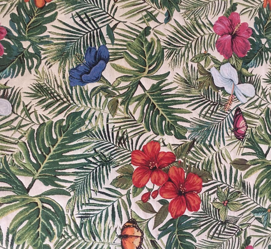 Bladeren met gekleurde bloemen gobelin meubelstof
