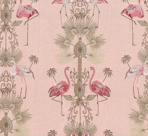 Decostoffen Flamingo jacquard meubelstof