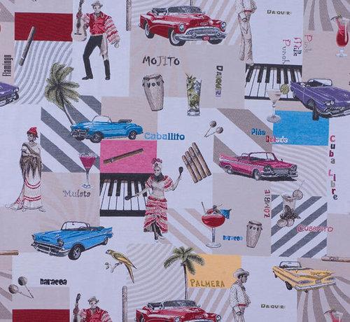 Decostoffen Cubaanse cultuur jacquard meubelstof