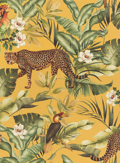 Decostoffen Leopard jungle geel velvet digitale print
