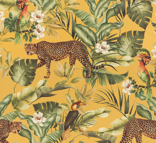 Decostoffen Leopard jungle geel velvet digitale print stof