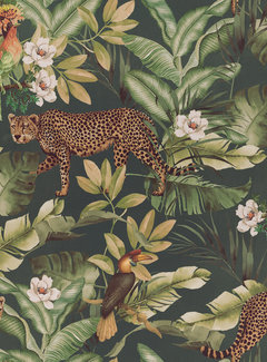 Decostoffen Leopard jungle groen velvet digitale print