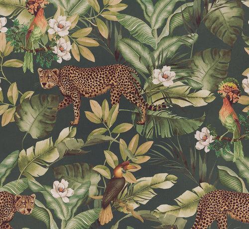 Decostoffen Leopard jungle groen velvet digitale print stof
