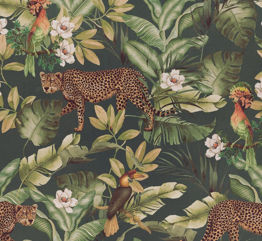 Leopard jungle groen velvet digitale print stof