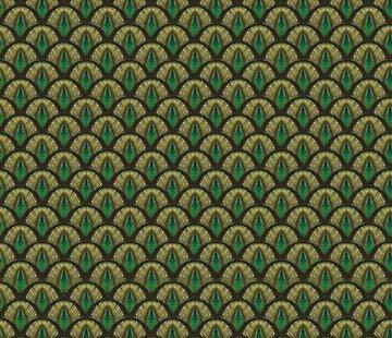 Decostoffen Pauwenprint velvet digitale print