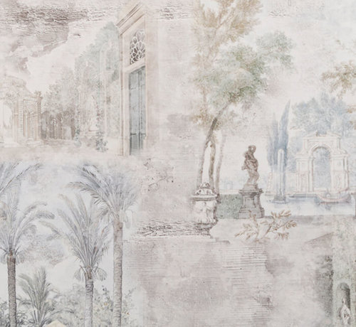 Decostoffen Vintage bomen velvet digitale print stof