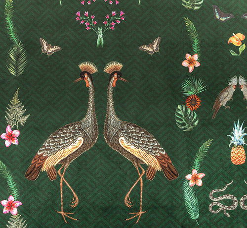 Decostoffen Kraanvogel velvet digitale print stof