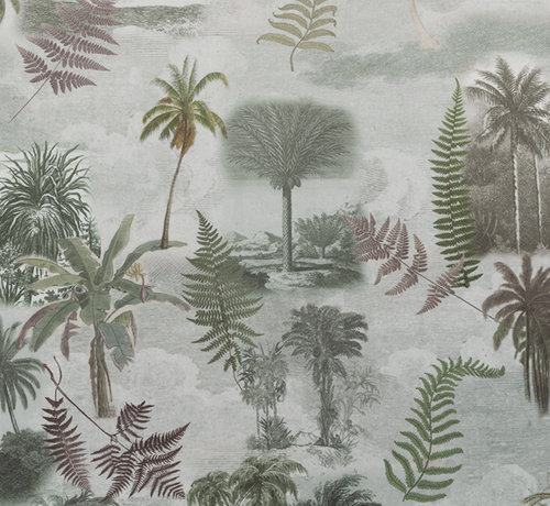 Decostoffen Tropische bomen velvet digitale print stof