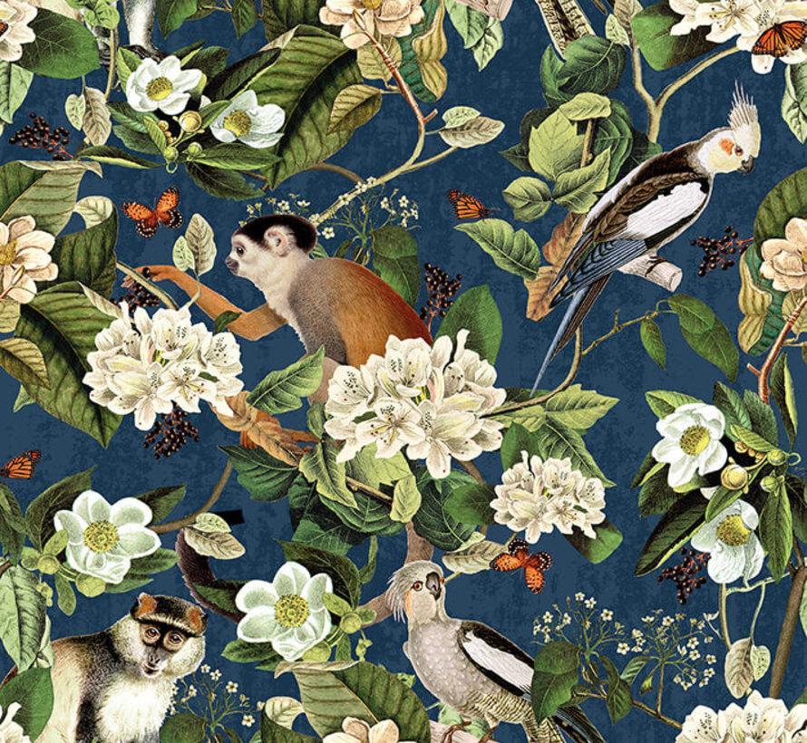 Aapjes en vogels velvet digitale print stof