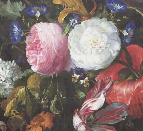 Decostoffen Bloemen roze wit velvet digitale print stof