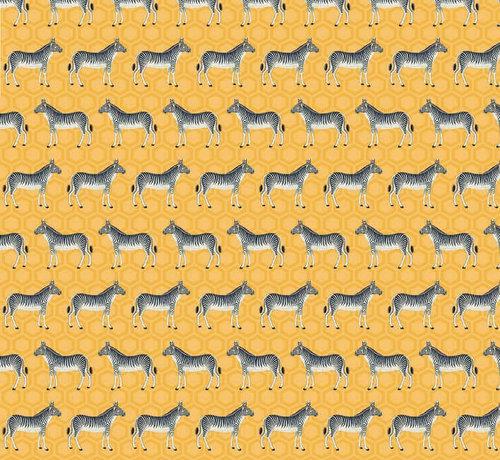 Decostoffen Zebra geel jacquard meubelstof