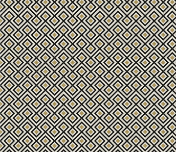 Decostoffen Geometrisch zwart goud wit jacquard