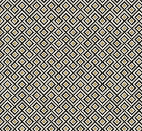 Decostoffen Geometrisch zwart goud wit jacquard meubelstof