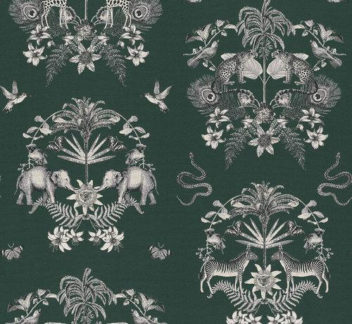 Decostoffen Groene jungle jacquard stof