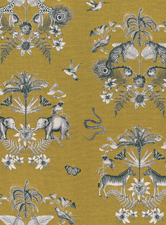 Decostoffen Okergele jungle jacquard