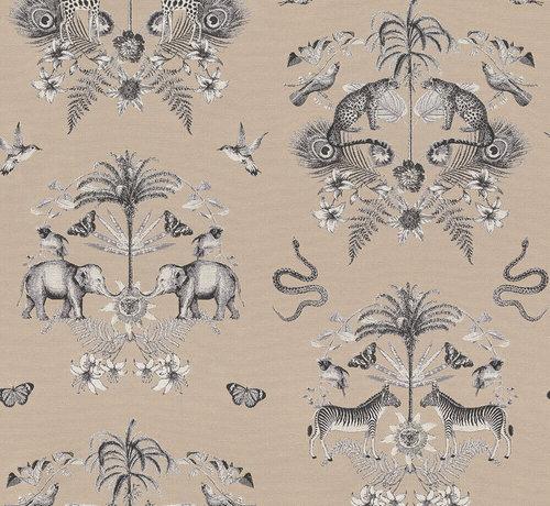Decostoffen Beige jungle dierenprint op jacquard stof