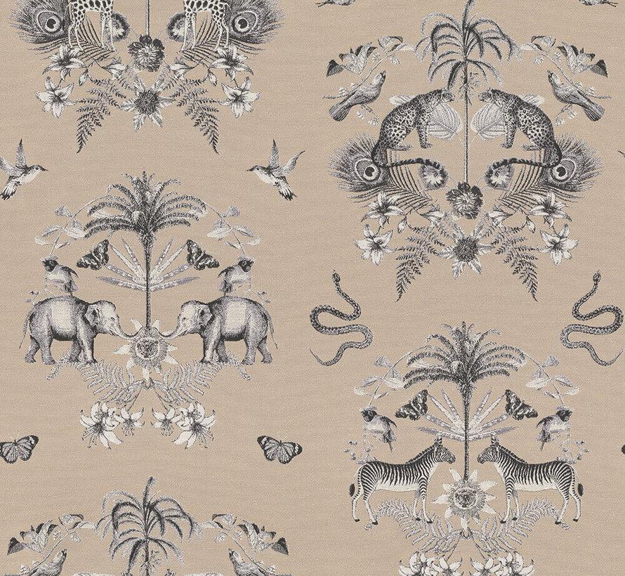 Beige jungle dierenprint op jacquard stof