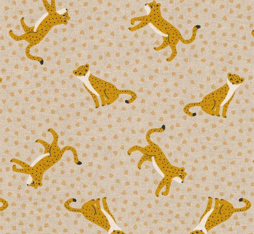 Decostoffen Luipaard met gele stippen linnenlook stof