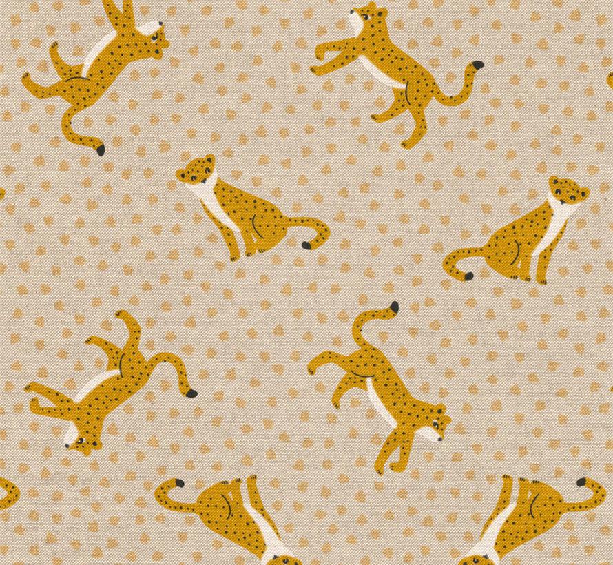 Luipaard met gele stippen linnenlook stof