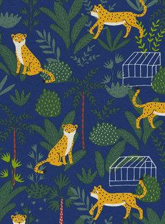 Luipaarden blauw ottoman