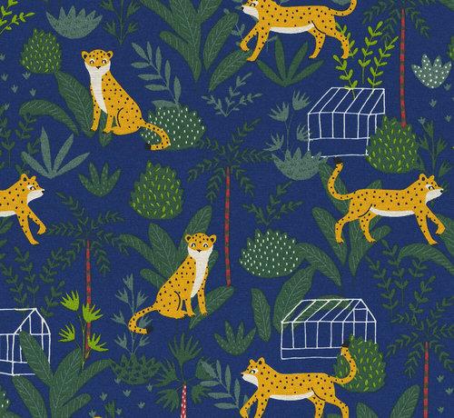 Decostoffen Blauwe ottoman stof met luipaarden en jungle print
