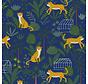 Blauwe ottoman stof met luipaarden en jungle print