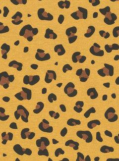 Decostoffen Panterprint geel ottoman