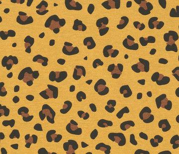 Panterprint geel ottoman