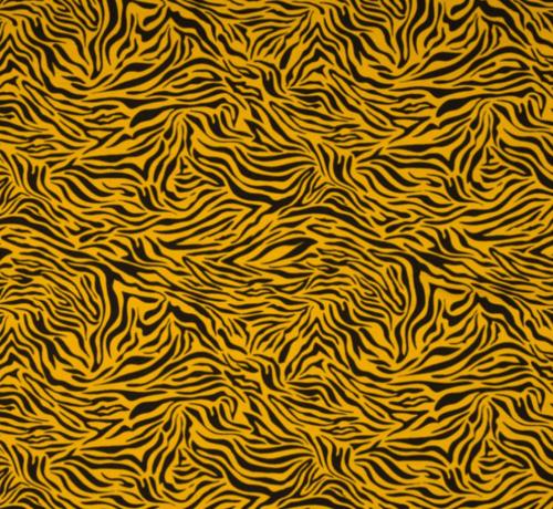 Decostoffen okergele zebraprint tricot