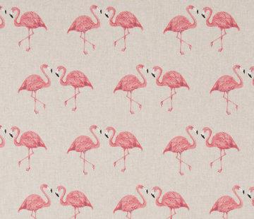 Decostoffen Flamingo's linnenlook