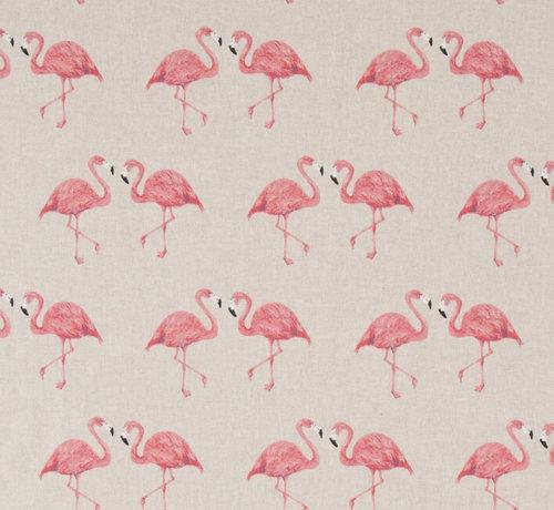 Decostoffen Flamingo's op linnenlook stof
