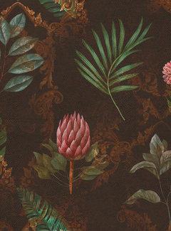Decostoffen Barok bruin velvet digitale print