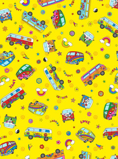 Decostoffen Hippie volkswagen bus geel digitale print