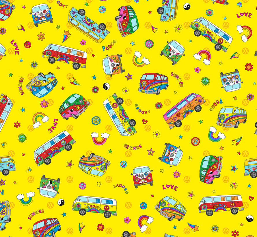 Hippie volkswagen bus geel digitale print