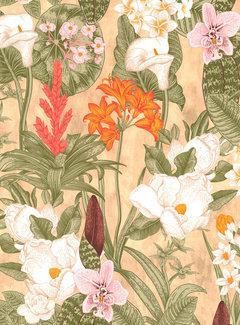Decostoffen Beach bloemen velvet digitale print