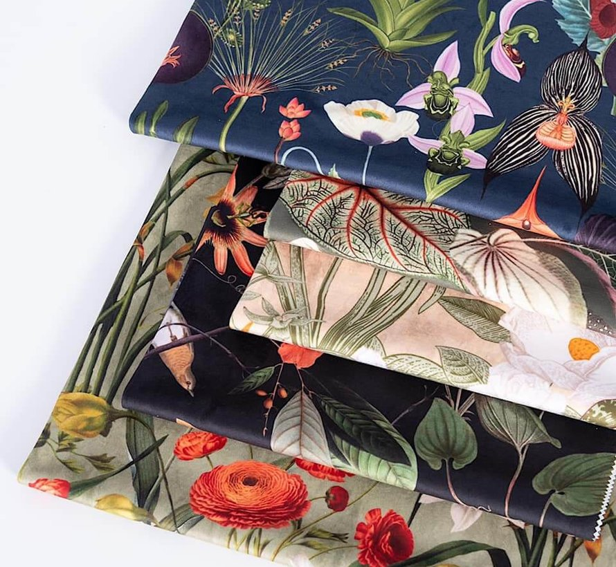 Beach bloemen velvet digitale print