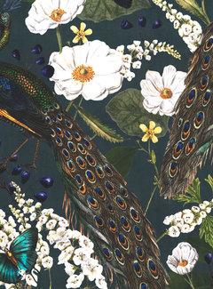 Decostoffen Botanische pauw velvet digitale print