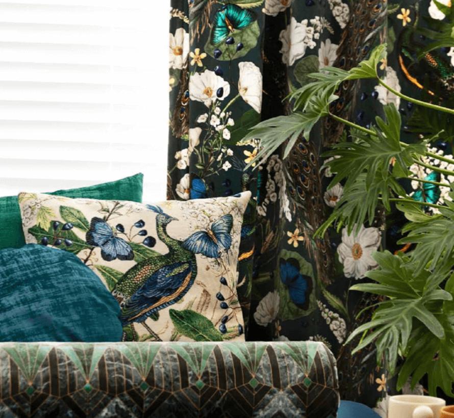 Botanische pauw velvet digitale print