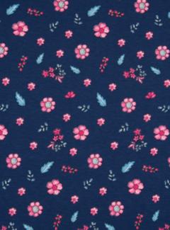 Decostoffen Donkerblauwe tricot met bloemen