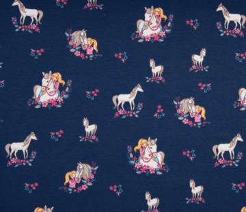 Decostoffen Donkerblauwe paarden en bloemen tricot