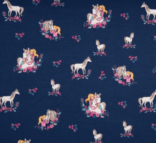 Decostoffen Donkerblauwe en bloemen paarden tricot