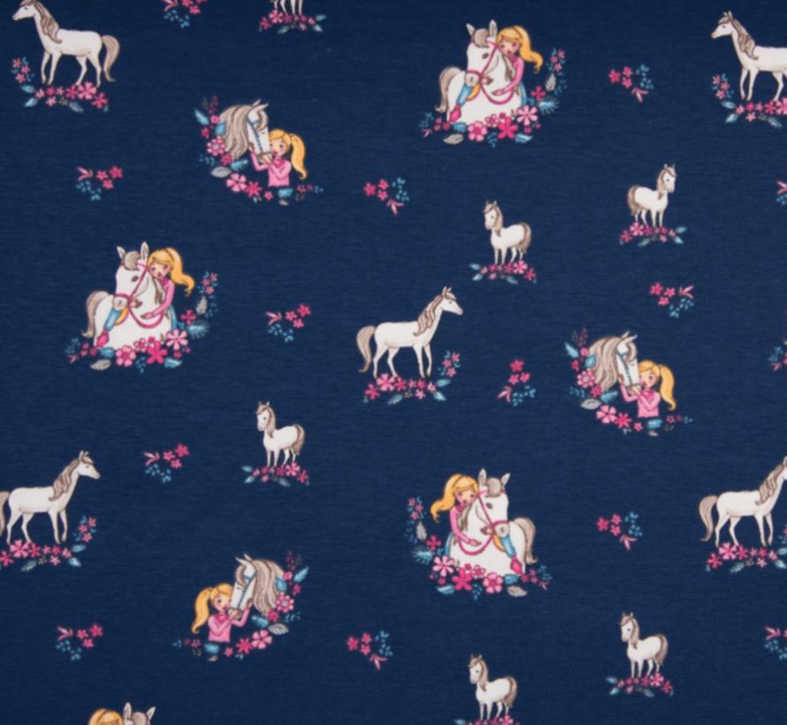 Donkerblauwe en bloemen paarden tricot