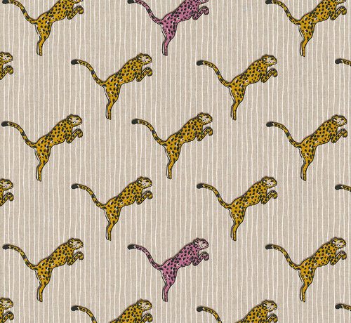 Decostoffen Luipaarden geel en roze linnenlook