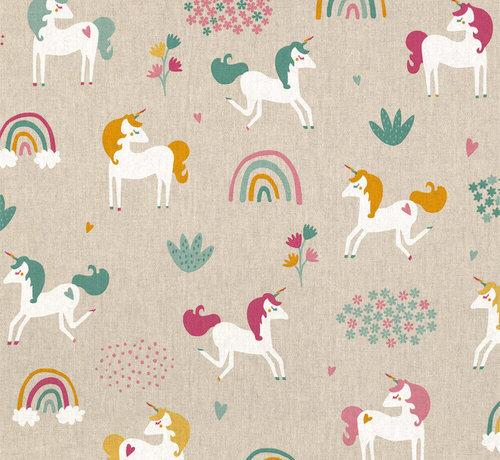 Decostoffen Eenhoorn/unicorn linnenlook stof
