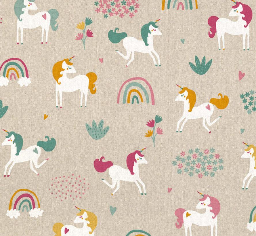 Eenhoorn/unicorn linnenlook stof