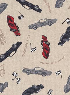 Decostoffen Race auto's linnenlook