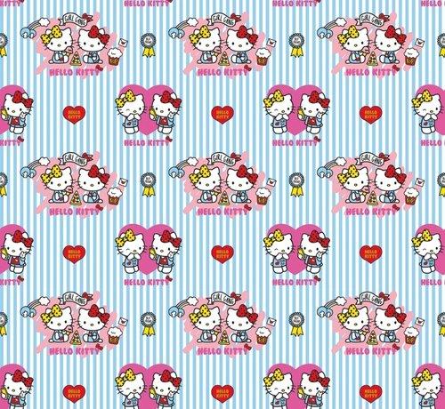 Decostoffen Hello Kitty strepen