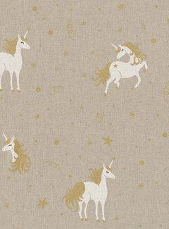 Decostoffen Unicorn goud linnenlook