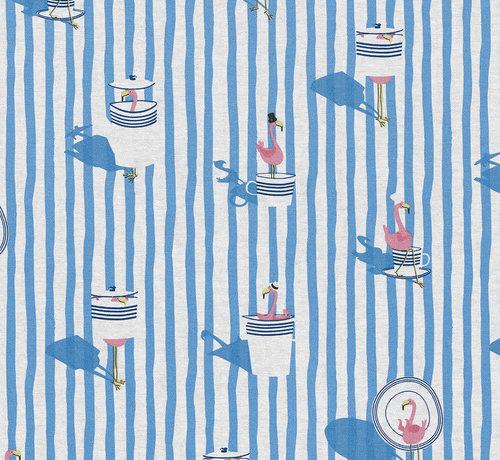 Decostoffen Flamingo blauwe strepen ottoman