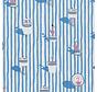 Flamingo blauwe strepen ottoman